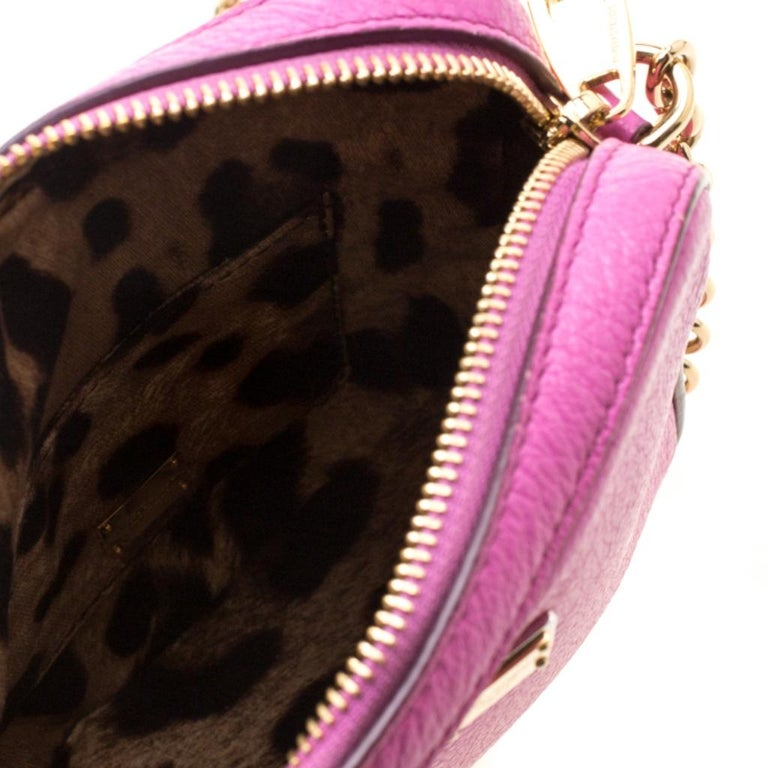 Dolce and Gabbana Pink Leather Crossbody Bag For Sale 2