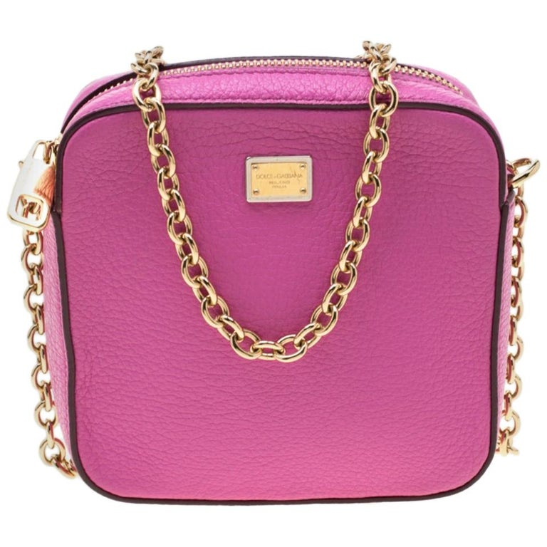 Dolce and Gabbana Pink Leather Crossbody Bag For Sale