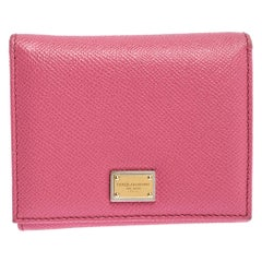 Dolce and Gabbana Pink Leather Trifold Wallet