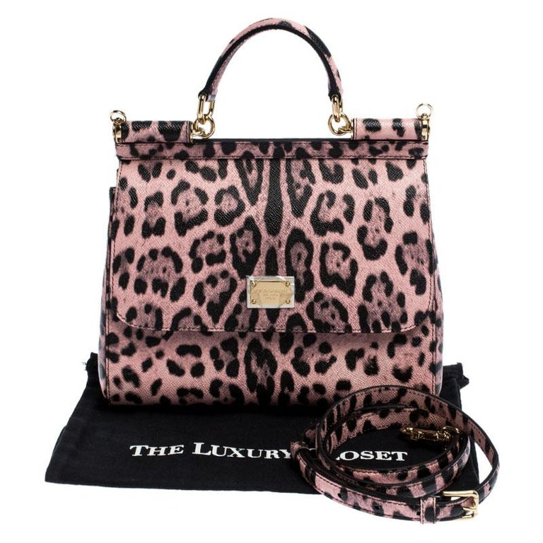Dolce and Gabbana Pink Leopard Print Leather Medium Miss Sicily Top Handle Bag For Sale 6