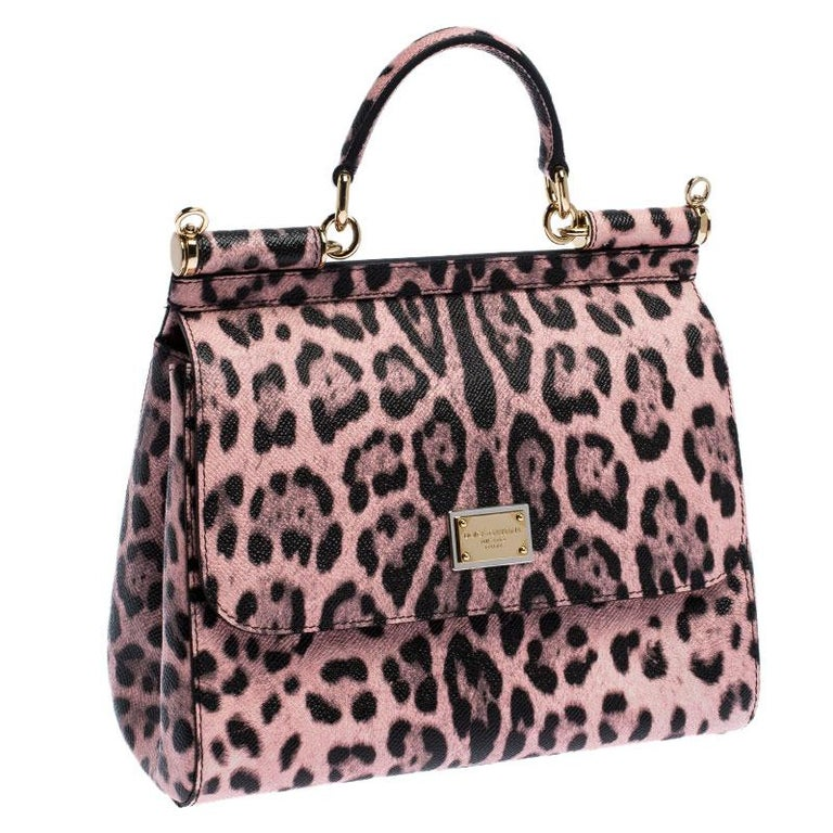 Dolce and Gabbana Pink Leopard Print Leather Medium Miss Sicily Top Handle Bag In Good Condition For Sale In Dubai, Al Qouz 2