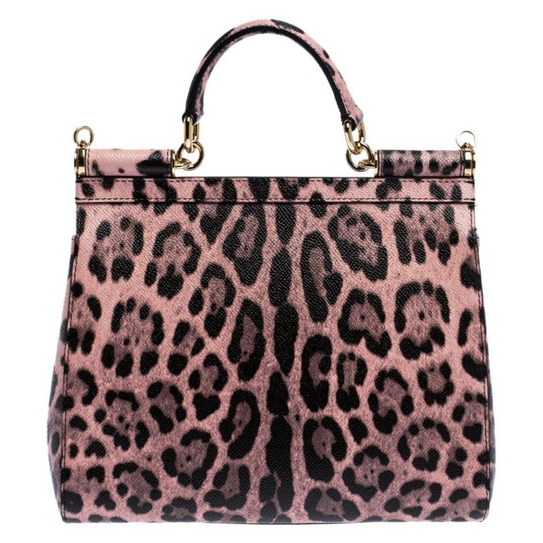 Women's Dolce and Gabbana Pink Leopard Print Leather Medium Miss Sicily Top Handle Bag For Sale