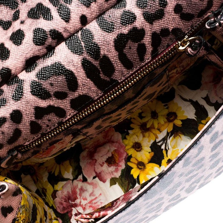 Dolce and Gabbana Pink Leopard Print Leather Medium Miss Sicily Top Handle Bag For Sale 4