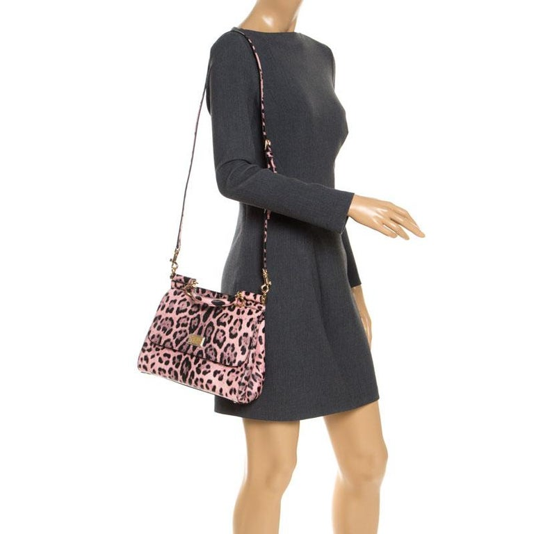 Dolce and Gabbana Pink Leopard Print Leather Medium Miss Sicily Top Handle Bag For Sale 5