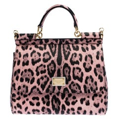 Dolce and Gabbana Pink Leopard Print Leather Medium Miss Sicily Top Handle Bag