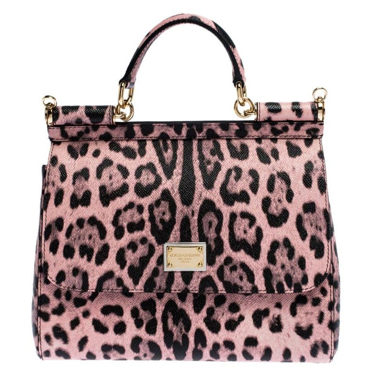 Dolce and Gabbana Pink Leopard Print Leather Medium Miss Sicily Top Handle Bag For Sale