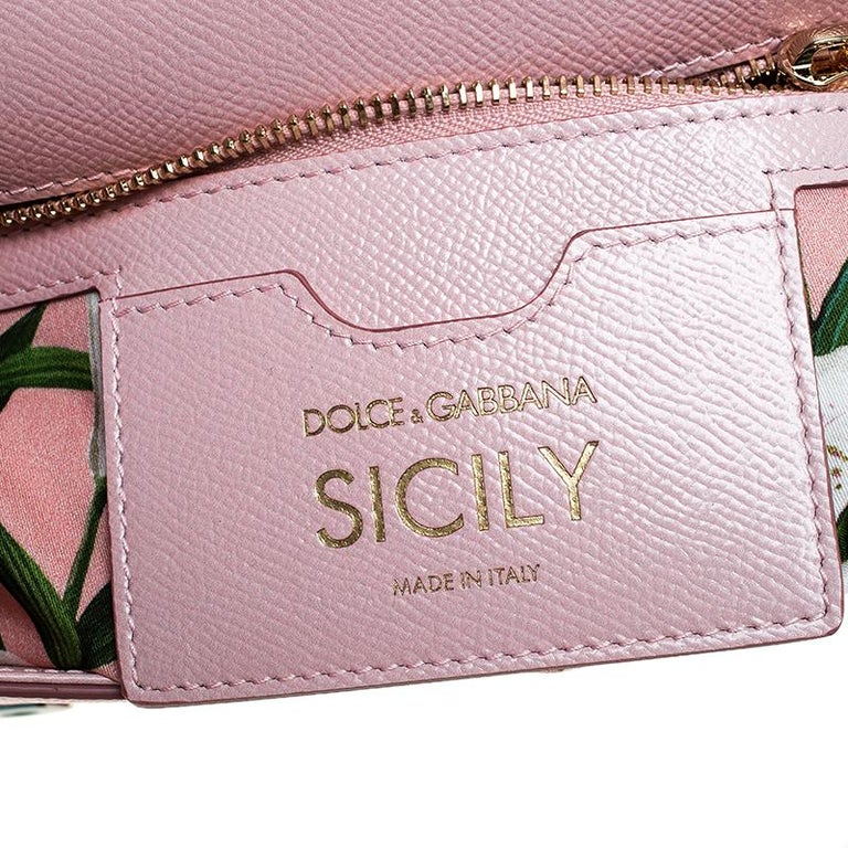 Dolce and Gabbana Pink Lilium Print Leather Medium Miss Sicily Top Handle Bag For Sale 6