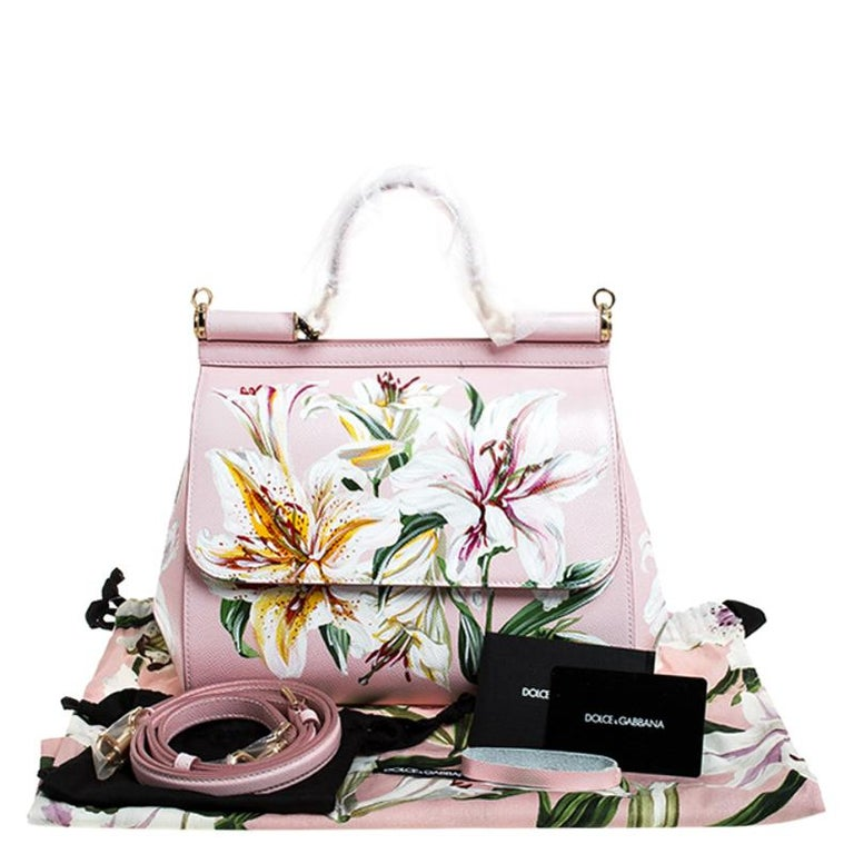 Dolce and Gabbana Pink Lilium Print Leather Medium Miss Sicily Top Handle Bag For Sale 7