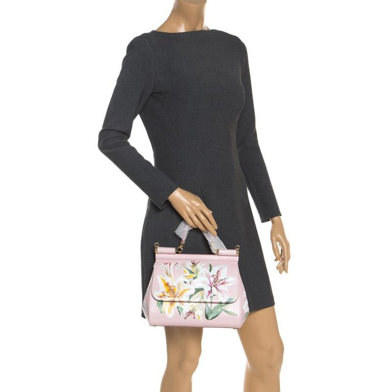 Dolce and Gabbana Pink Lilium Print Leather Medium Miss Sicily Top Handle Bag In New Condition For Sale In Dubai, Al Qouz 2