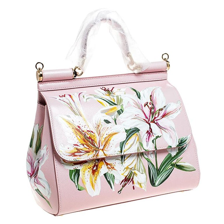 Women's Dolce and Gabbana Pink Lilium Print Leather Medium Miss Sicily Top Handle Bag For Sale