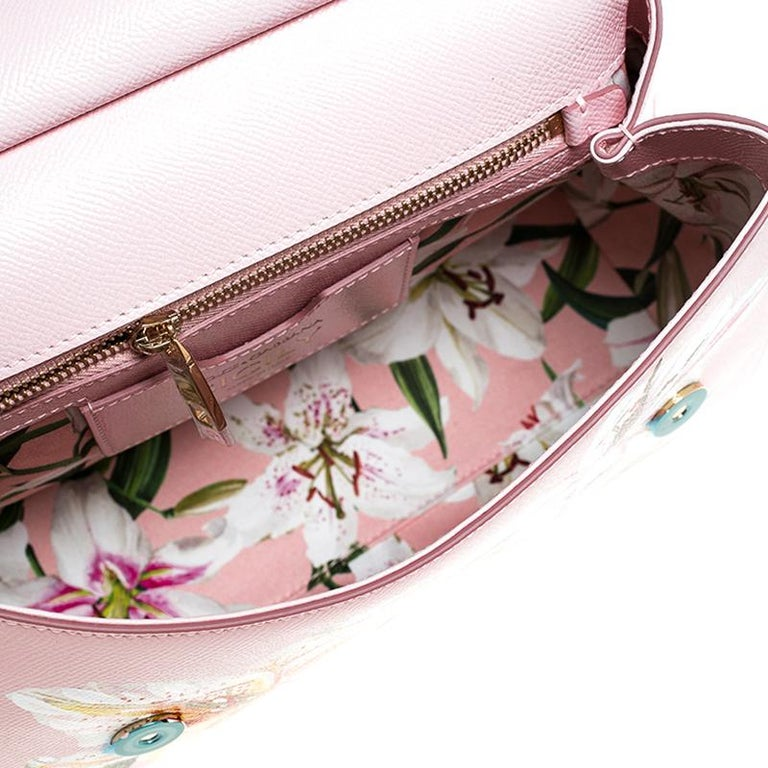 Dolce and Gabbana Pink Lilium Print Leather Medium Miss Sicily Top Handle Bag For Sale 2
