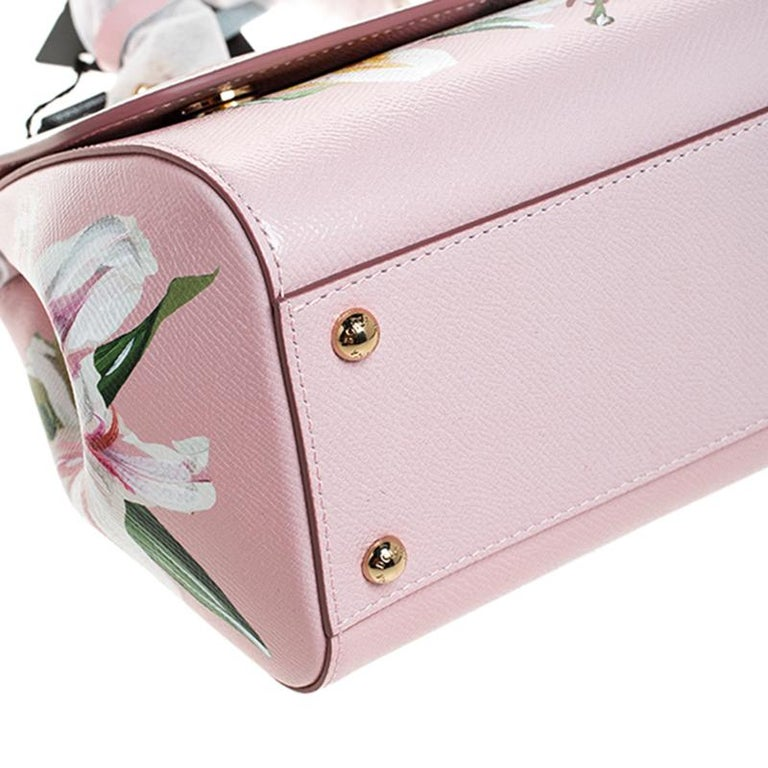 Dolce and Gabbana Pink Lilium Print Leather Medium Miss Sicily Top Handle Bag For Sale 3