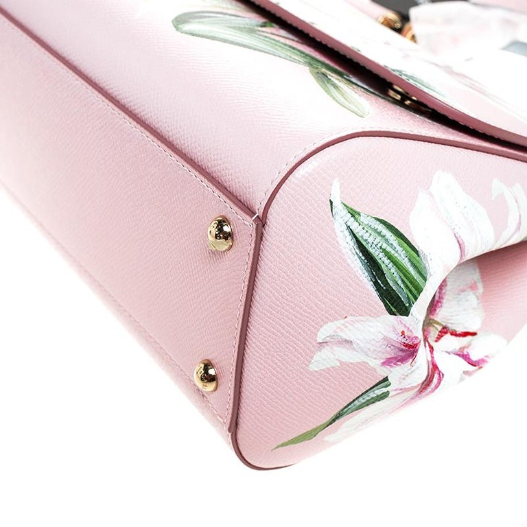 Dolce and Gabbana Pink Lilium Print Leather Medium Miss Sicily Top Handle Bag For Sale 4