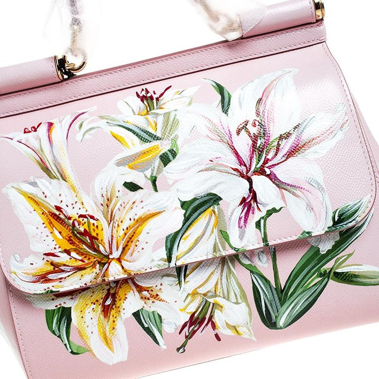 Dolce and Gabbana Pink Lilium Print Leather Medium Miss Sicily Top Handle Bag For Sale 5