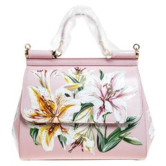 Dolce and Gabbana Pink Lilium Print Leather Medium Miss Sicily Top Handle Bag