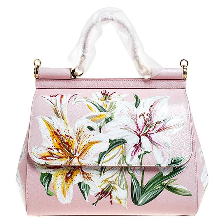 Dolce and Gabbana Pink Lilium Print Leather Medium Miss Sicily Top Handle Bag For Sale