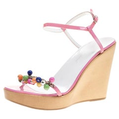 Dolce And Gabbana Pink Patent Leather Beads Embellished  Wedge Sandals Size 37.5