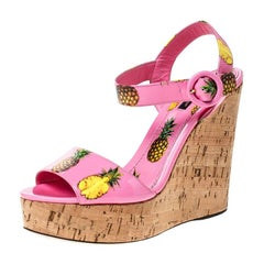 Dolce And Gabbana Pink Patent Leather Pineapple Cork Wedge Sandals Size 40