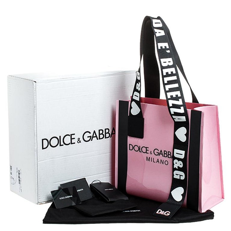 Dolce and Gabbana Pink PVC Street Shopper Tote For Sale 7