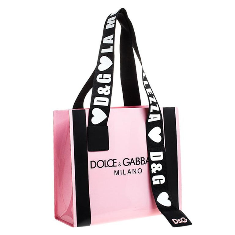 Women's Dolce and Gabbana Pink PVC Street Shopper Tote For Sale