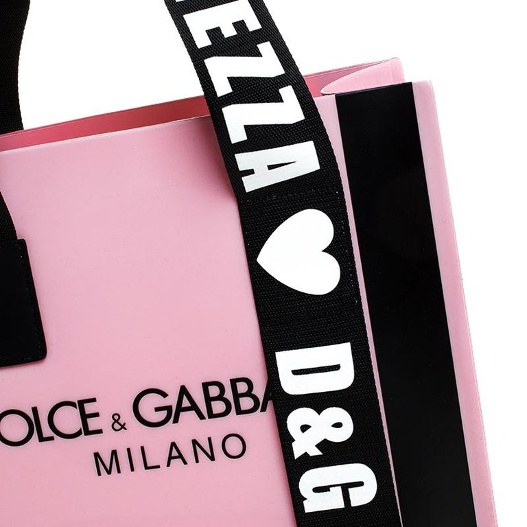 Dolce and Gabbana Pink PVC Street Shopper Tote For Sale 3