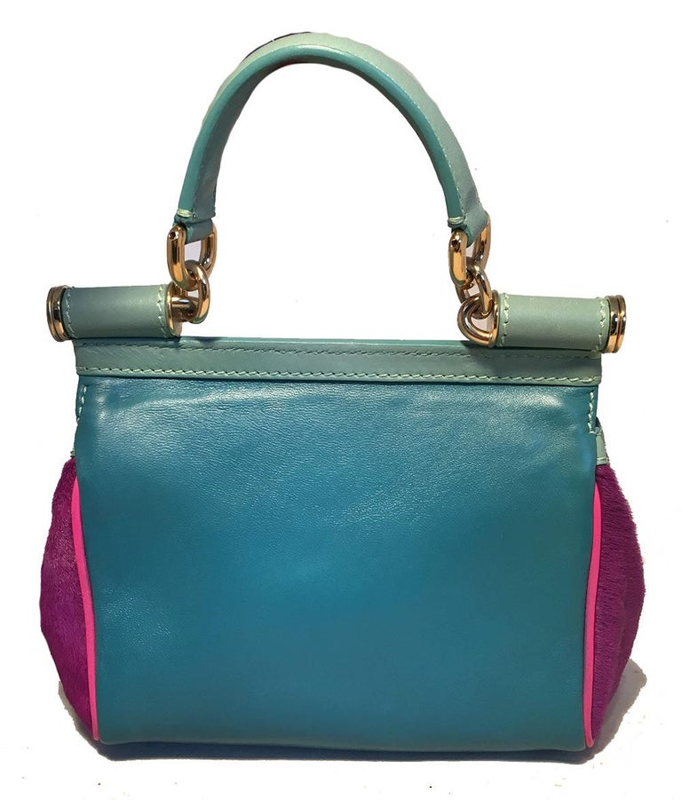 Black Dolce and Gabbana Pink Sequin Zebra Calf Hair Leather Small Miss Sicily Baguette For Sale