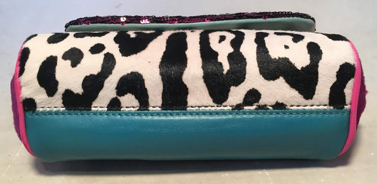 Dolce and Gabbana Pink Sequin Zebra Calf Hair Leather Small Miss Sicily Baguette In Good Condition For Sale In Philadelphia, PA