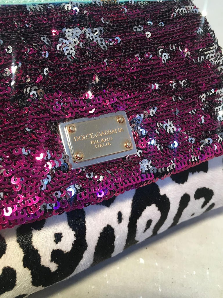 Women's Dolce and Gabbana Pink Sequin Zebra Calf Hair Leather Small Miss Sicily Baguette For Sale