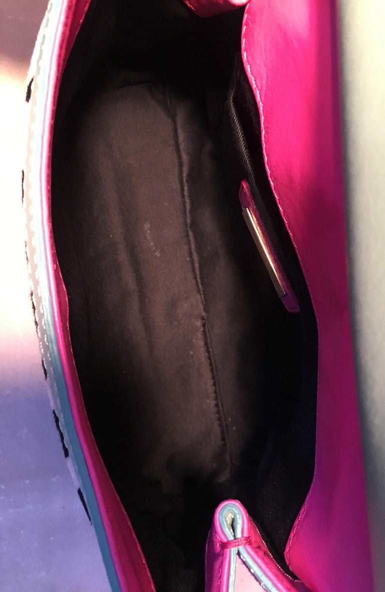 Dolce and Gabbana Pink Sequin Zebra Calf Hair Leather Small Miss Sicily Baguette For Sale 1