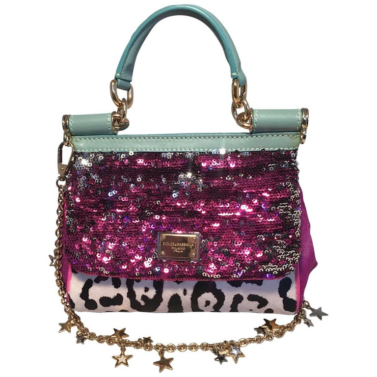 Dolce and Gabbana Pink Sequin Zebra Calf Hair Leather Small Miss Sicily Baguette For Sale