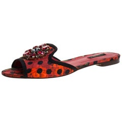 Dolce and Gabbana  Polka and Printed Canvas Crystal Embellished Flat Size 39