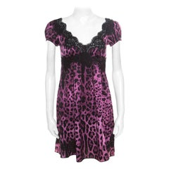 Dolce and Gabbana Purple and Black Animal Printed Lace Insert Baby Doll Dress S