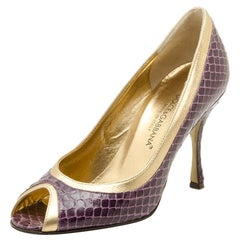 Dolce and Gabbana Purple and Gold Embossed Peep Toe Pumps Size 35