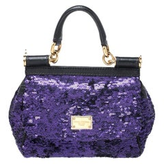 Dolce and Gabbana Purple/Black Sequin Leather Small Miss Sicily Top Handle Bag