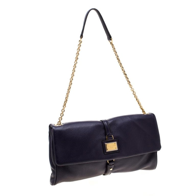 Women's Dolce and Gabbana Purple Leather Chain Shoulder Bag For Sale