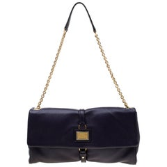 Dolce and Gabbana Purple Leather Chain Shoulder Bag
