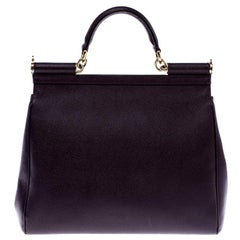 Dolce and Gabbana Purple Leather Large Miss Sicily Top Handle Bag