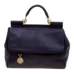 Dolce and Gabbana Purple Leather Large Miss Sicily Tote
