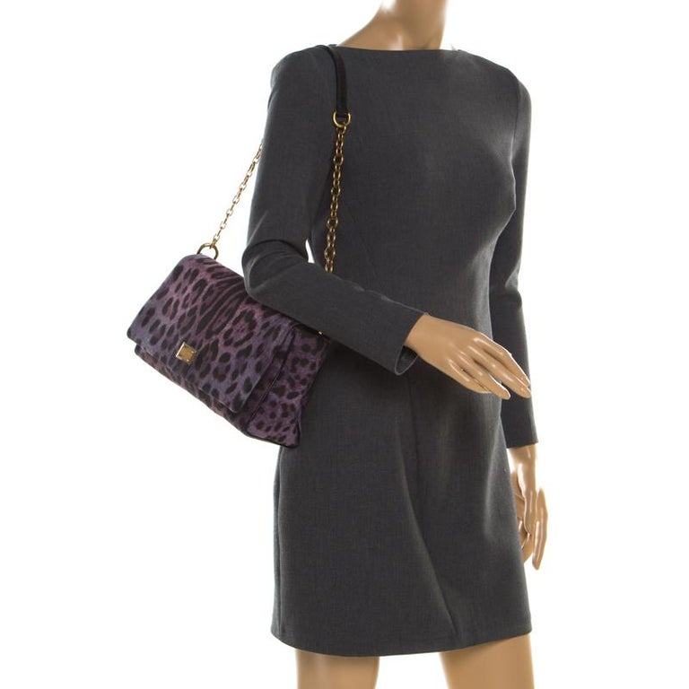 Dolce and Gabbana Purple Leopard Print Canvas and Leather Flap Shoulder Bag In Good Condition For Sale In Dubai, Al Qouz 2