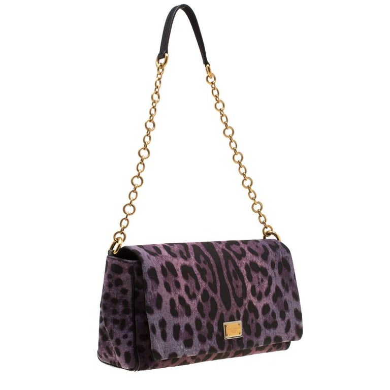 Women's Dolce and Gabbana Purple Leopard Print Canvas and Leather Flap Shoulder Bag For Sale