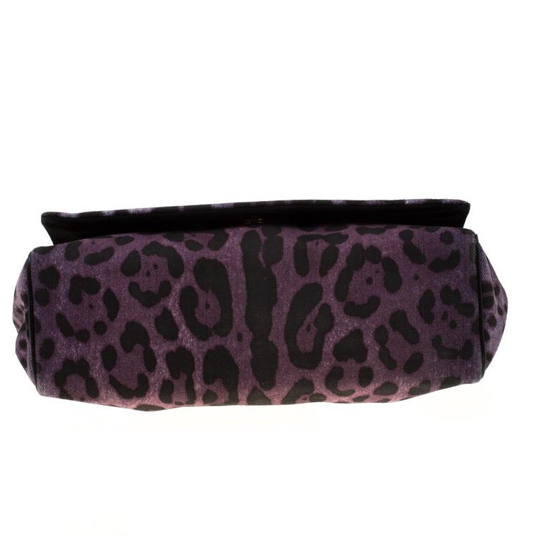 Dolce and Gabbana Purple Leopard Print Canvas and Leather Flap Shoulder Bag For Sale 1