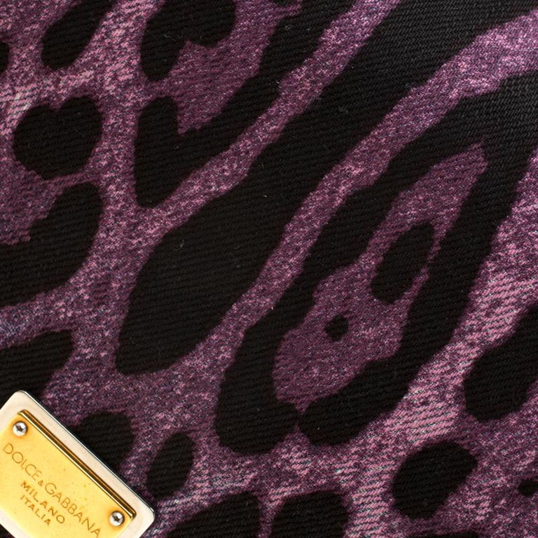Dolce and Gabbana Purple Leopard Print Canvas and Leather Flap Shoulder Bag For Sale 4