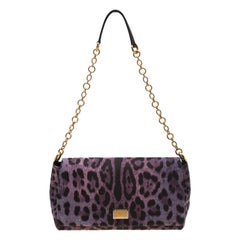 Dolce and Gabbana Purple Leopard Print Canvas and Leather Flap Shoulder Bag