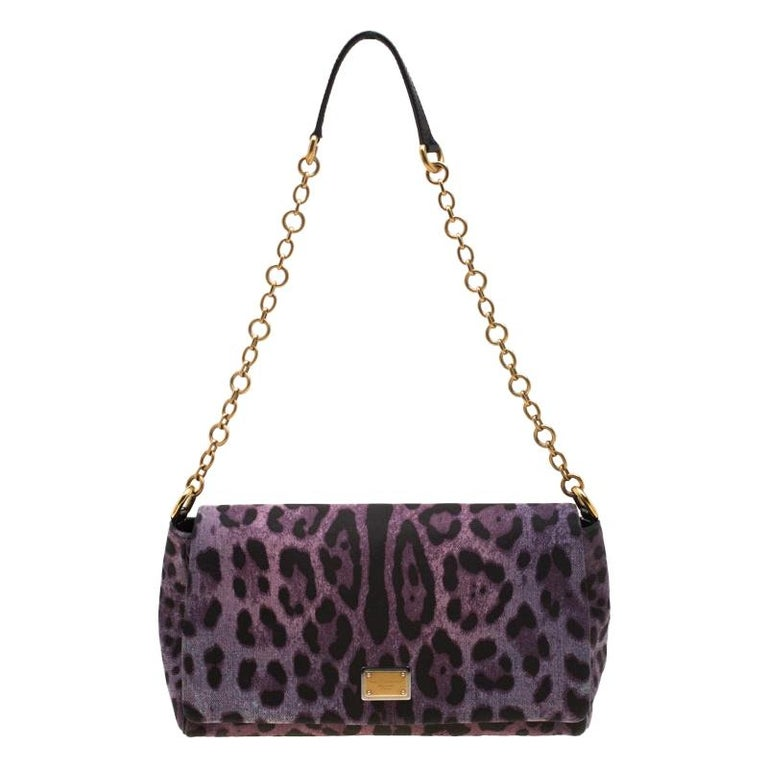 Dolce and Gabbana Purple Leopard Print Canvas and Leather Flap Shoulder Bag For Sale