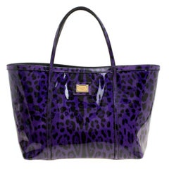 Dolce and Gabbana Purple Leopard Print Patent Leather Miss Escape Tote