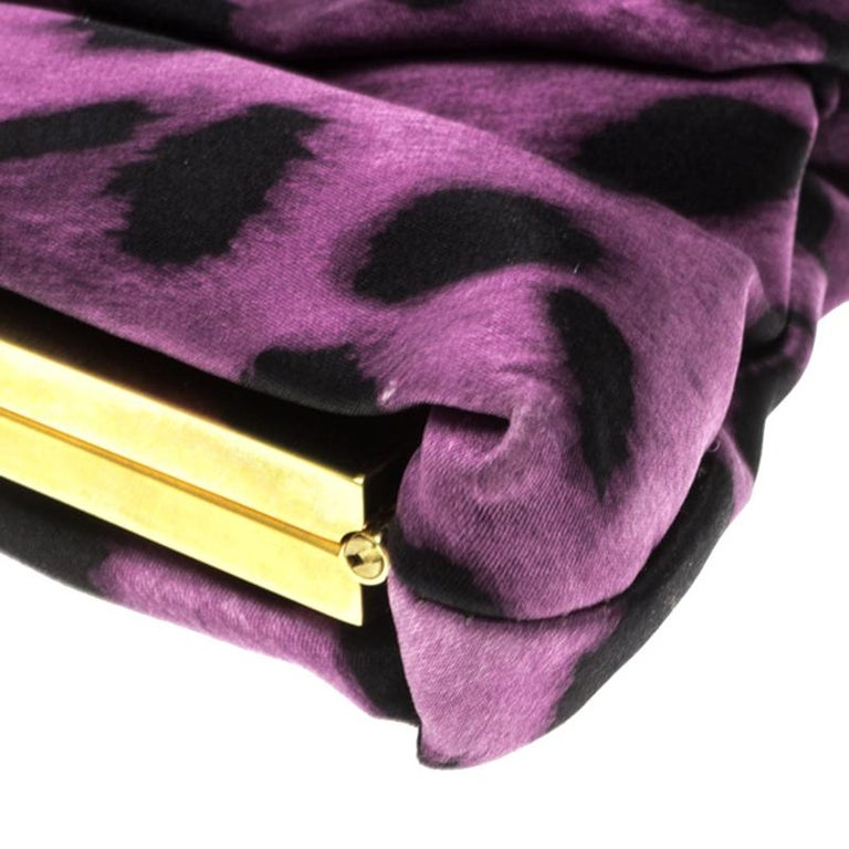 Dolce and Gabbana Purple Leopard Print Satin Miss Lady Clutch For Sale 5