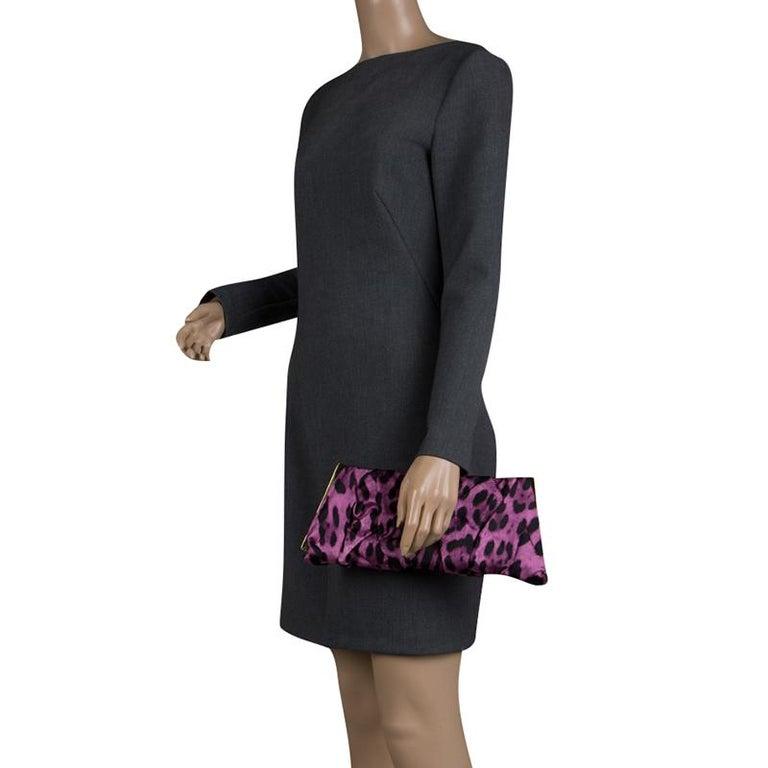 Black Dolce and Gabbana Purple Leopard Print Satin Miss Lady Clutch For Sale