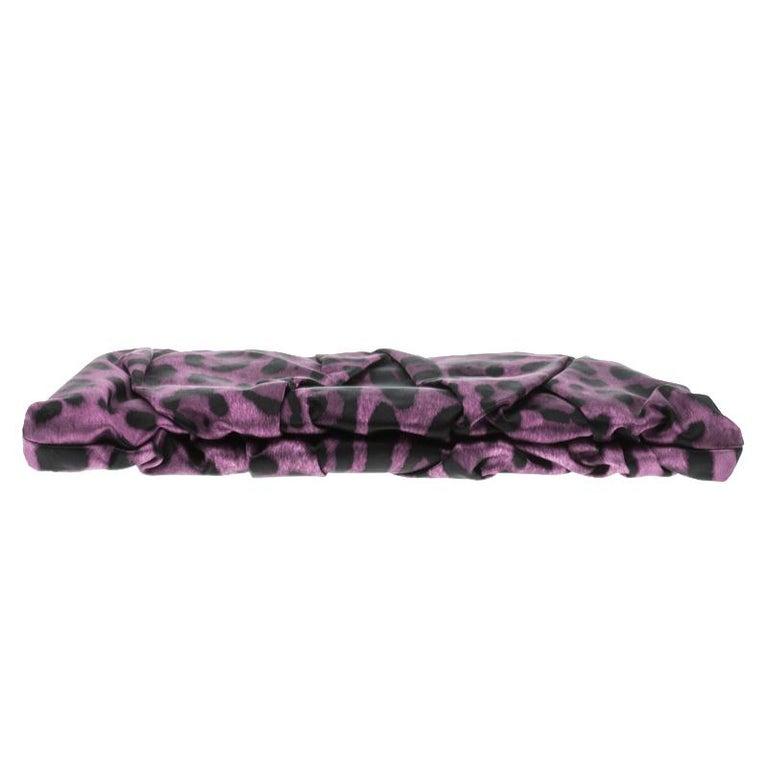 Women's Dolce and Gabbana Purple Leopard Print Satin Miss Lady Clutch For Sale