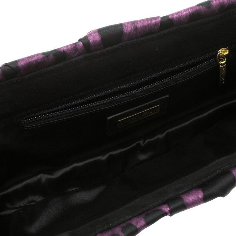 Dolce and Gabbana Purple Leopard Print Satin Miss Lady Clutch For Sale 2