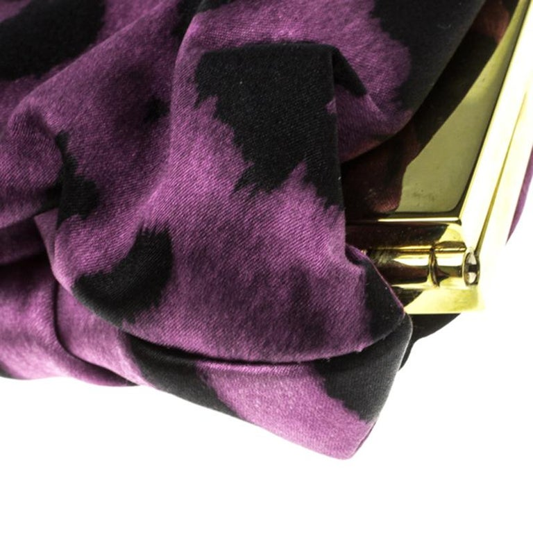 Dolce and Gabbana Purple Leopard Print Satin Miss Lady Clutch For Sale 4